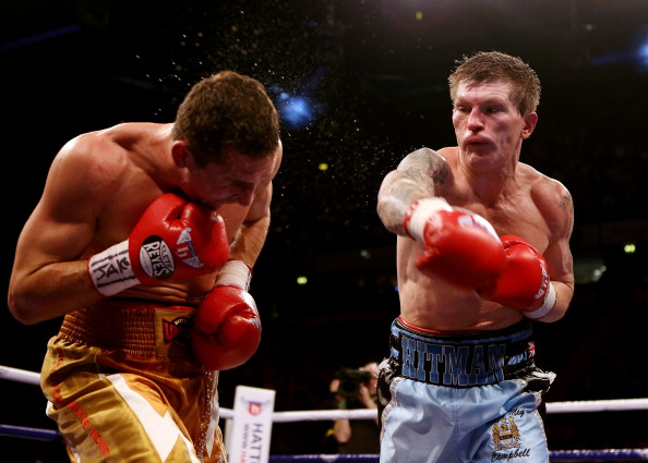 MANCHESTER, ENGLAND - NOVEMBER 24:  Ricky Hatton of Great Britain in action with Vyacheslav Senchenko of Ukraine during their Welterweight bout at the MEN Arena on November 24, 2012 in Manchester, England.  (Photo by Scott Heavey/Getty Images)