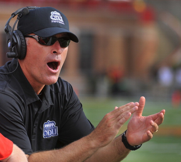 Old Dominion head coach Bobby Wilder encourages his offense in the first quarter against Maryland at Byrd Stadium in College Park, Maryland, Saturday, September 7, 2013. (Mark Gail/MCT via Getty Images)