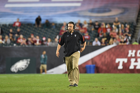 October 21, 2016:Temple Owls head coach Matt Rhule during a NCAA Football  game between the University of South Florida Bulls and the Temple Owls at Lincoln Financial Field in Philadelphia, PA. (Photo by Andy Lewis/Icon Sportswire via Getty Images)