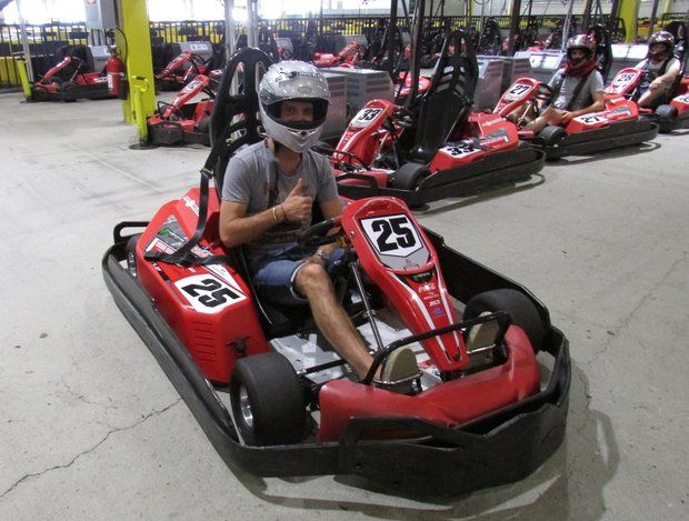 Formula E driver Jean-Eric Vergne stopped by RPM Raceway in Jersey City on Monday following the New York City ePrix.